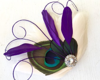 BREE Natural, Purple, and Jade Ivory Feather Fascinator with Crystal and Pearl, Feather Hair Clip, Bridal Hair Piece