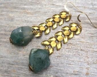 MOSS AGATE raw wheat brass chain earrings