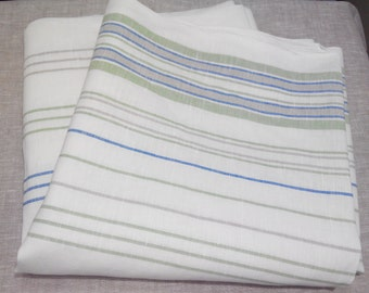 Linen cotton fabric Striped textile Eco friendly Bed linen Curtains Organic Natural sewing canvas ECO, 1/2 by the yard