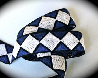 """Jacquard Ribbon -  1 1/8"""" Bue, Black and White Vintage Jacquard"""