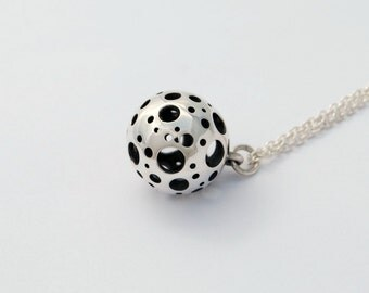 Moon Necklace Sterling silver ball necklace - brushed or polished