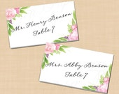 """Watercolor Pink Bouquet Place Card Tents, Floral Peonies, Roses (5""""x3.5""""): Text-Editable in Word, Printable on Avery Tents, Instant Download"""