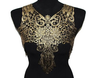 Black and Gold Foiled Floral Crocheted Yoke Applique Sewing Collar