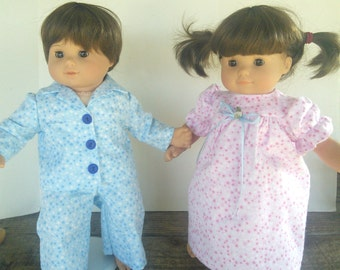"American Girl 15 ""Bitty Twins Doll Clothing - Pink and Blue Stars Flannel Pajamas PJ's Boy and Girl"