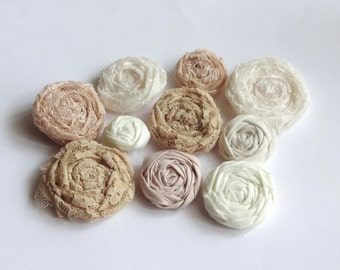 SALE Assorted Beige and Ivory Fabric Rosettes Embellishment