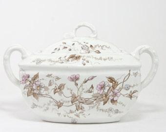 Vintage Alfred Meakin Covered Dish, Viola Pattern Royal Semi Porcelain, England,