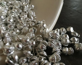 NEW LOWER PRICE - Bangalore Authentic Silver Clapperless Indian Jingle Bells (100) - Bellydancer Chic