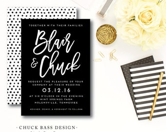 Chuck Bass Printed Weddding Invitations | Wedding Invitation and additional pieces | Printed by Darby Cards Collective