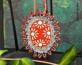 Moroccan Style Beaded Ornament - Orange Coral Blue Beaded Decoration - Beaded Textile Ornament - Hand Painted Fabric