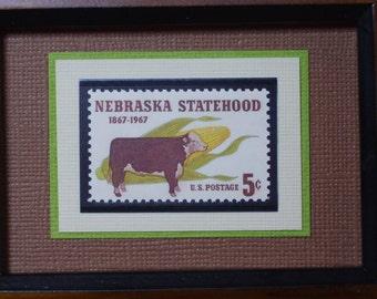 Nebraska Statehood - Vintage Framed Stamp -  No. 1328