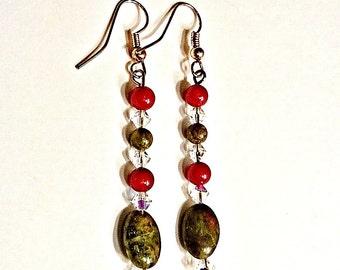 "Women's Earrings Copper, Agate,  Unakite , Coral & Swarovski Elements ""Warm Comfort""   By ANena Jewelry"