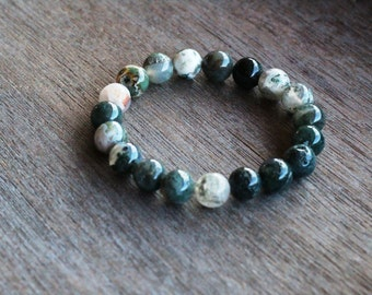 Moss Agate 10 mm Round Stretchy String Bracelet B53