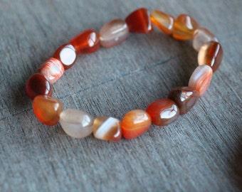 Carnelian Stretchy String Bracelet B148