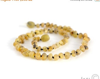 15% OFF THRU OCT Baby Amber Teething Necklace, 100 Percent Genuine Baltic Amber, Raw Unpolished Baby Teething Necklace
