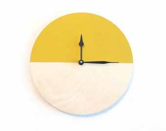 Yellow Wall Clock, Wood Clock, Wandklok, Trending Home Decor, Decor and Housewares. Home and LIving, Clocks