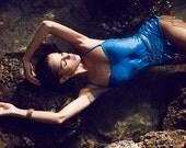 SALE: size L royal blue swimsuit with belt