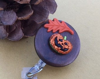 Fall Badge Reel, Pumpkin Badge Holder,Retractable Badge Reel, ID Holder, Badge Clip, Seasonal ID Clip