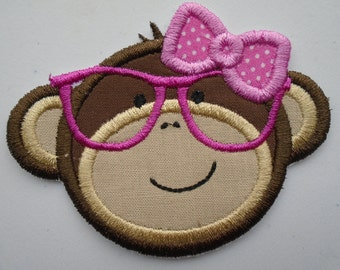 Girl Monkey with glasses embroidered iron on applique  patch