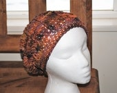 """falkland wool crochet slouchy hat in """"nectarine"""" colorway"""