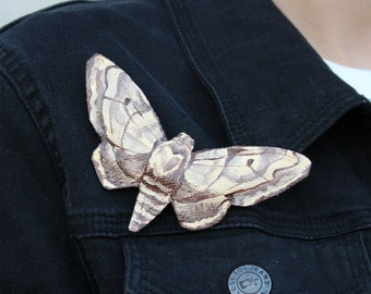 Moth Pin, Large Brooch, Hand Painted Moth, Statement Piece,Walnut Sphinx Pin, Gift Jewelry