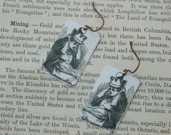 Alice In Wonderland earrings Through the Looking Glass  mixed media jewelry