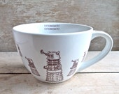 Large Doctor Who Dalek  Mug, Exterminate! Dalek Invasion, Sci Fi, 18 oz Coffee Mug, Soup Bowl, Huge Tea Cup, Cappuccino Cup, Ready to Ship