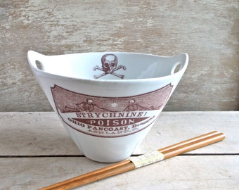 Poison Noodle Bowl, Strychnine Apothecary Labels, Large Rice Chopsticks Bowl, Foodie Dish, Pho, Ramen, Soup, Pad Thai, Ready to Ship