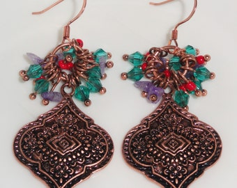 Ornate Detailed Copper Tone Crystal Dangle Multi Color Colorful Bead Beaded Pierced Hook Drop Earrings