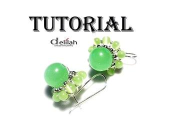 Green  Flower Earrings Wire Wrapped Jewelry Tutorial Wire Wrap Earrings Tutorial Earrings Jewelry Tutorial Wire Wrap Tutorial Stone Tutorial