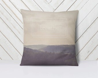 Breathe Throw Pillow Cover | Nature Landscape | Art | Calm Peaceful Meditative Decor | Home Decor