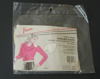 """Vintage Shoulder Pads, """"Penn"""" Brand, 1980's New Old Stock, Sewing Notions, 3/8 inch Thick, Made in USA"""