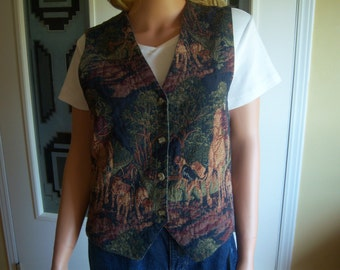 Ladies Vintage Tapestry Vest, Horses & Hunting Dogs Motif, On The Verge, Size Large, Made in USA