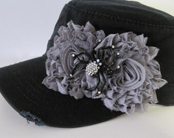 Black Distressed Cadet with Grey Chiffon Flowers and Black Rhinestone Spider Embellishment Halloween Hats Caps Military Hat Army Hat