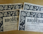 4 French Embroidery Pattern Magazines, Vintage, La Broderie Lyonnaise. C 1948 and 1950