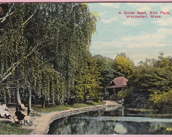 """Ca. 1908 """"A Quiet Spot in Elm Park"""" in Worcester, MA Topographical Picture Ink Blotter - 3"""