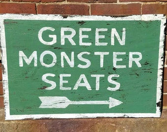 """Weathered """"Green Monster Seats"""" Sign - Fenway Park - vintage Boston sports sign"""