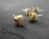 RAW PYRITE STUDS - Brass Prongs - Pick Stud Size