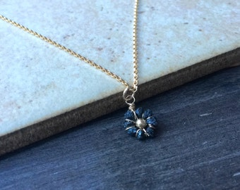 Black Diamond Necklace Tiny Black Flower Necklace in 14kt Gold Filled Bridesmaids Flower Girl Anniversary Gift Diamond Necklace