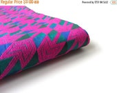 ON SALE Neon Velvet pink arrows on green blue India silk brocade fabric nr 192 fat quarter