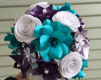Paper Flower Bouquet Purple Teal White Wedding Bridal Nosegay Bridesmaids