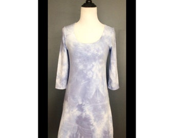 Navy French Terry Tie Dyed Mini Dress or Tunic with Scoop Neck an