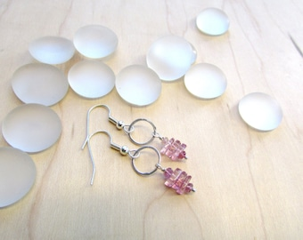 Perfect Rose Quartz and Pink Tourmaline Earrings with Sterling Silver
