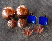 Vintage Copper Earring Lot of 4 Pairs Clip On Screw Back Leaf Southwestern Blue Enamel Earring Collection 1950's 1960's // Vintage Jewelry