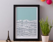 Downtown Paris art print designed by Jessica Hogarth - art print - ready to frame - colourful digital print on matte card - matted print