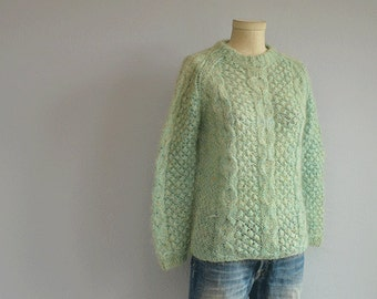 Vintage 60s Mohair Sweater / 1960s Mint Green Cable Wool Pullover / Made in Italy