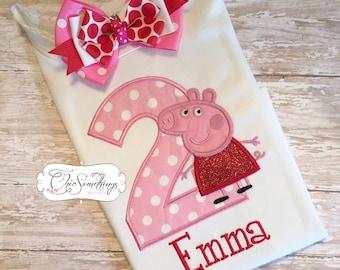 peppa pig shirt, peppa big tutu, peppa big birthday, second birthday, pig tutu, pig shirt, muddy puddles, pig outfit, pig tutu, pig birthday