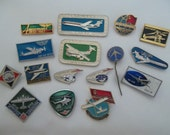 Set of 16 pin badges aviation aircraft Soviet airline Aeroflot theme. Russian airplane An, Yak, Tu. Made in the USSR.