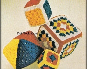No.550 Crochet Baby Toy Pattern PDF - Granny Square Blocks - Baby Toddler Child's Retro Toy Pattern Vintage 1970's - Instant Download