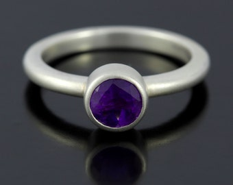 Amethyst Promise Ring in Sterling Silver. Purple Amethyst February Birthstone Ring. Satin Silver Promise Ring with Round Amethyst - CS1516