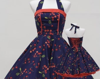50's vintage dress full skirt navy blue red cherry custom tailor made after your measurements